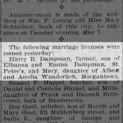 Harry B. Dampman and Mary Wunderlich Marriage License Issued
