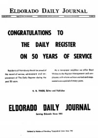Sample Eldorado Daily Journal front page