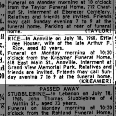 not sure but keeping it for reference - Rice funeral - 19 July 1968