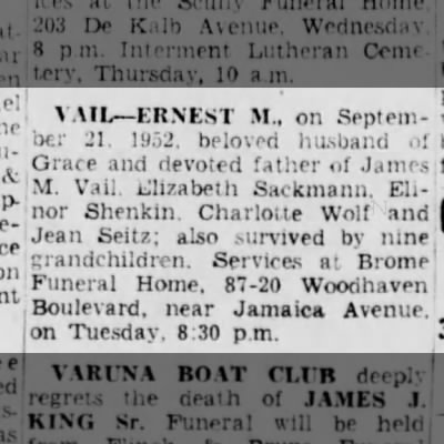 Ernest M. Vail Death Notice, 22 Sep 1952, The Brooklyn Daily Eagle, Brooklyn, NY