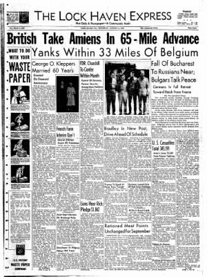The Express from Lock Haven, Pennsylvania on August 31, 1944 · Page 1