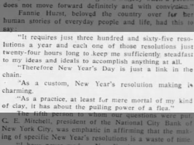 Writer Fannie Hurst on Resolutions, 1926