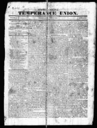 Sample North Carolina Temperance Union front page
