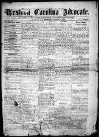 Sample Western Carolina Advocate front page
