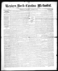 Sample Western North Carolina Methodist front page