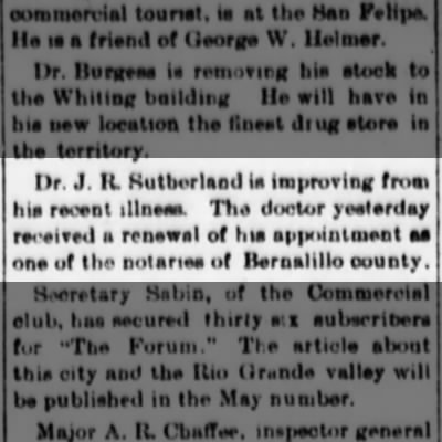 Albuquerque Weekly Citizen - J.R. Sutherland recovering; 28 Mar 1891, Sat.; page 4