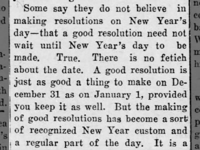 Argument against New Year's resolutions discussed, 1908