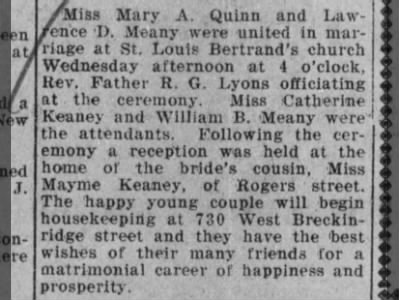 Mary Ann Quinn Meaney - marriage announcement