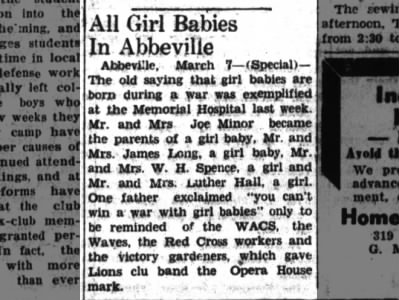 Mr. and Mrs. W. H. Spence, All Girl Babies in Abbeville
