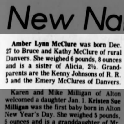 Amber McClure birth announcement