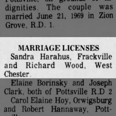 Sandra Harahus & Richard Wood Marriage License
