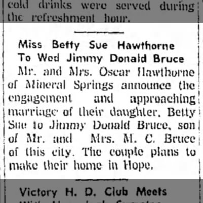 Hope Star 3 June 1960 p4 Betty Sue Hawthorne engagaged dau of Oscar