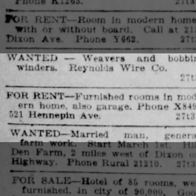 renting rooms in 1925