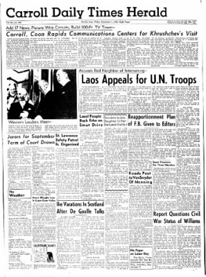 Carrol Daily Times Herald from Carroll, Iowa on September 4, 1959 · Page 1