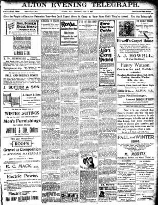 Alton Evening Telegraph from Alton, Illinois on December 6, 1898 · Page 1
