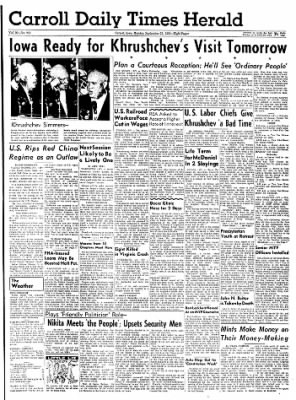Carrol Daily Times Herald from Carroll, Iowa on September 21, 1959 · Page 1