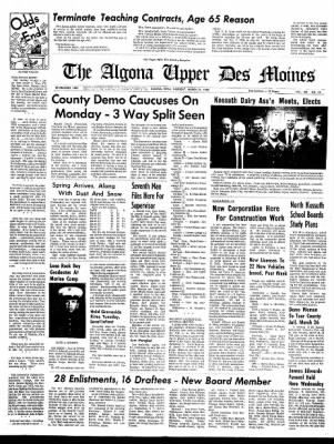 The Algona Upper Des Moines from Algona, Iowa on March 21, 1968 · Page 1