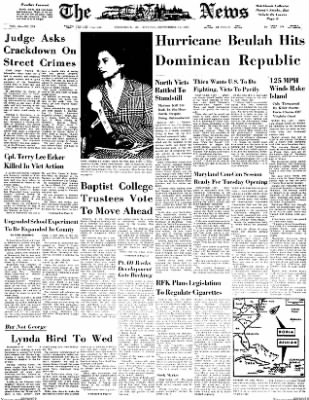 The News from Frederick, Maryland on September 11, 1967 · Page 1