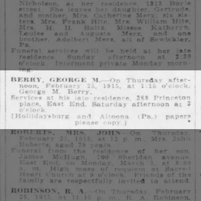 George M. Berry - death notice - Feb 27 1915