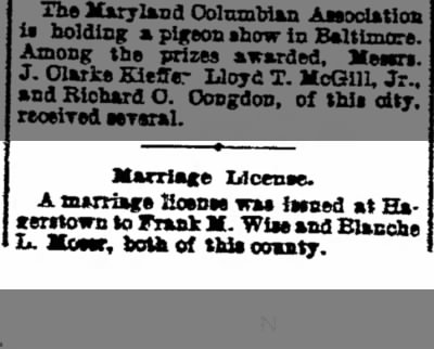 Frank Melvine Wise Marriage License Notice12/3/1903