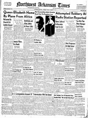Northwest Arkansas Times from Fayetteville, Arkansas on February 7, 1952 · Page 1