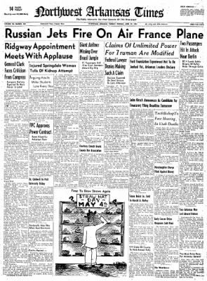 Northwest Arkansas Times from Fayetteville, Arkansas on April 29, 1952 · Page 1
