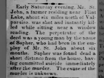 Mr. St. John murdered in murder-suicide by a man named Sapher 1870